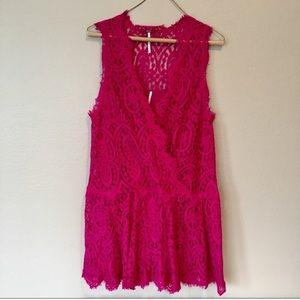 Free People Pink Eyelash Lace Drop Waist Dress